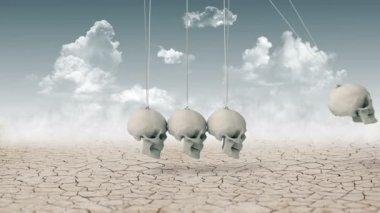 Newton's Cradle made of skulls instead balls — Stock Video