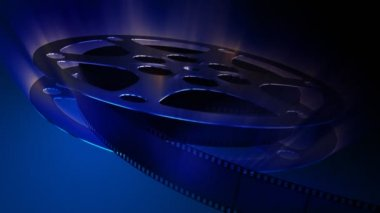 Rotating film reel with impressing light — Stock Video
