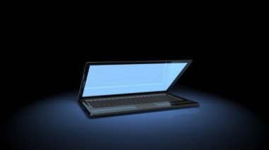 3D animation of laptop  opening — Stockvideo