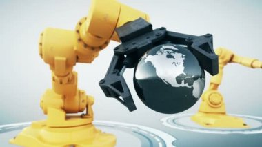 Robotic arm with metallic globe — Stock Video