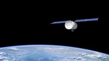 Telecommunication satellite orbiting the Earth — Stock Video