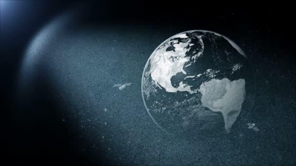 Rotación de la tierra con satélite — Vídeo de stock