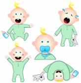 Set of babies  — Stock Vector