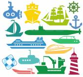Set of ships and boats — Stock Vector