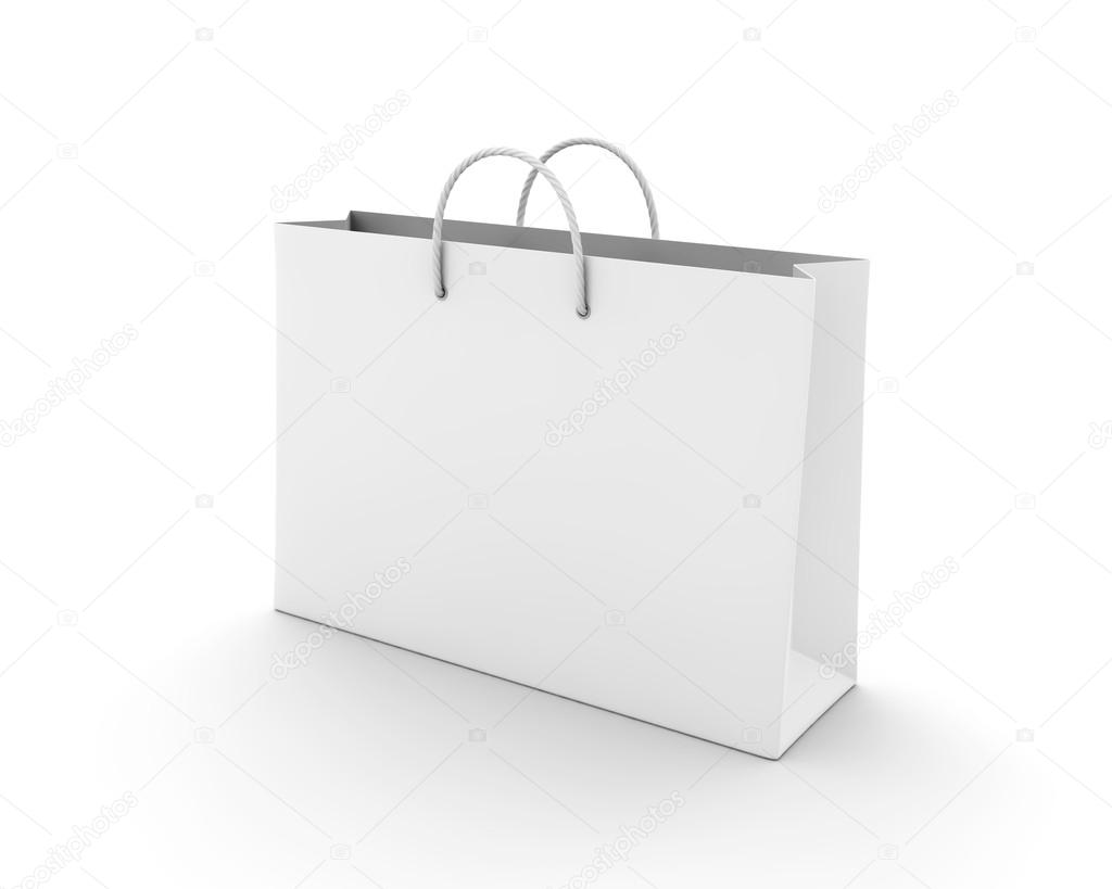 Empty Shopping Bag on white for advertising and branding — Stock ...