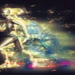Running robot with light effect — Stock Photo #71308159