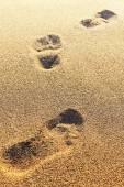 Fotspår på torr sand. suddig bild. kan användas som bakgrunds — Stockfoto