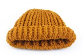 Yellow knitted wool hat isolated on white background — Stock Photo