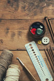 Knitting and sewing supplies — Stockfoto