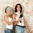 Young man and woman with tools — Stock Photo #52477193