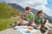 Two boys have got picnic — Stock Photo