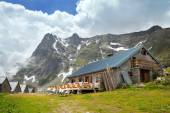 Mountain cafe in Loriaz village — Stock Photo