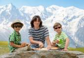 Father and two sons on picnic — Stock Photo