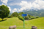 Pointer of highway on roadside — Stock Photo