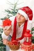 Man in Christmas cap — Stock fotografie