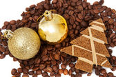 Coffee and christmas decorations — Stock Photo