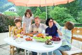 Family from five persons have got dinner — Foto de Stock