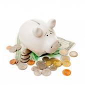 Porcelain pig with coins and banknotes — Stock Photo