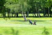 Two carts on a golf course — Stock Photo