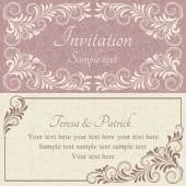Baroque wedding invitation, pink and beige — Stockvector