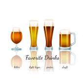 Favorite beer set, isolated — Stock Vector