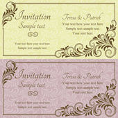 Baroque wedding invitation, pink and yellow — Stock Vector