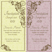Baroque wedding invitation, pink and yellow — Stock Vector