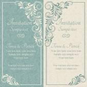 Baroque wedding invitation, blue and beige — Vetorial Stock