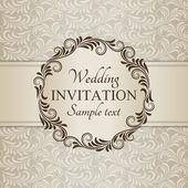 Baroque wedding invitation, brown and beige — Wektor stockowy