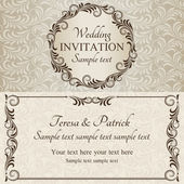 Baroque wedding invitation, brown and beige — Stock Vector