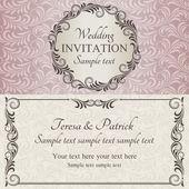Zaproszenie na ślub barokowy, brązowy, różowy i beżowy — Wektor stockowy