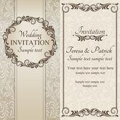 Baroque wedding invitation, brown and beige — Vetorial Stock