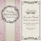 Bege, marrom, rosa e convite de casamento barroco — Vetorial Stock