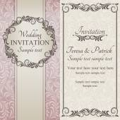 Baroque wedding invitation, brown, pink and beige — Stock Vector