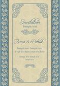 Baroque wedding invitation, beige and blue — Vecteur