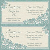 Baroque wedding invitation, blue and beige — Stock Vector