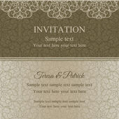Baroque invitation, dull gold — Stock Vector