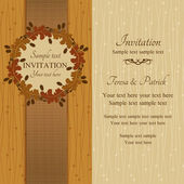 Autumn or summer invitation, brown and beige — Stock Vector