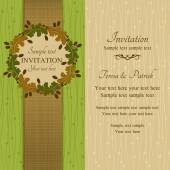 Autumn or summer invitation, green and beige — Stock Vector