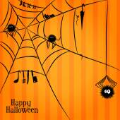 Web, spiders and some things in Halloween style — Stock Vector