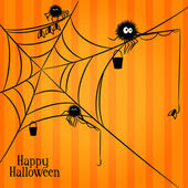 Web, spiders and fishing in Halloween style — Vetorial Stock