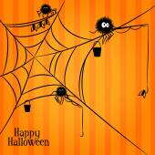 Web, spiders and fishing in Halloween style — Vecteur