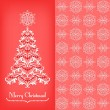 Greeting card with Christmass tree, red — Stock Vector #53385129