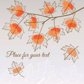 Linden leaf orange style with place for your text — ストックベクタ