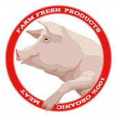 Pig label, red — Stockvector