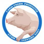 Pig label, blue — Stock vektor