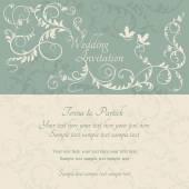 Beige, bleu et invitation de mariage baroque — Vecteur