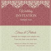 Amarillento, rosado y barroco invitación — Vector de stock