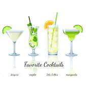 Favorite cocktails set, isolated — Stockvektor