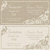 Baroque invitation, beige — Vettoriale Stock